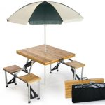 Portable Wood Folding Table with Umbrella by Picnic Plus