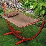 Algoma Net 12 Foot Wooden Arc Hammock with Matching Pillow