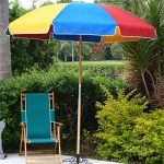 Canvas 7 1/2′ Fiberlite Frame Beach Umbrella with Wood Pole